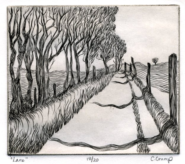 """Lane,"" Carol Crump Bryner, engraving, 1976"