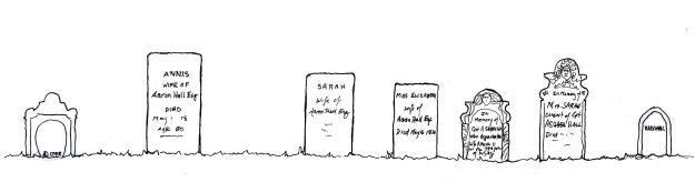 """Headstones,"" Carol Crump Bryner, pen and ink, 2013"