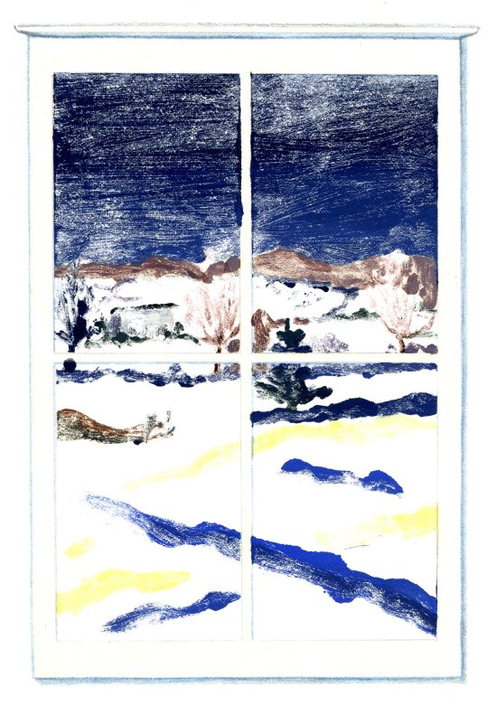 """December Window,"" Carol Crump Bryner, monoprint"