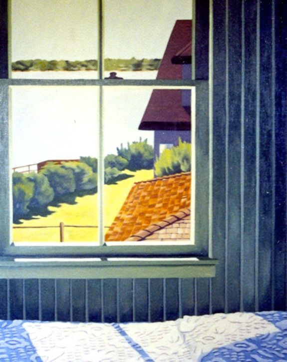 """Sleeping Porch Window,"" Carol Crump Bryner, oil on linen, 1990"