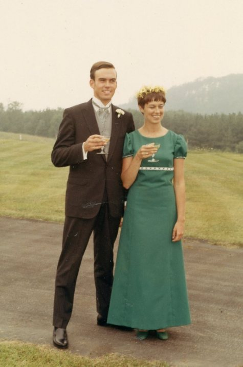 "Cousin Skip, and cousin Sue (wearing the ""Maid of Honor"" dress I made) at my wedding in 1968"