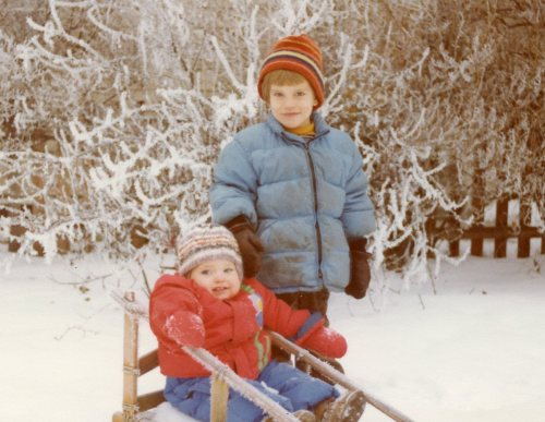 My children in well-used snow clothes, 1978