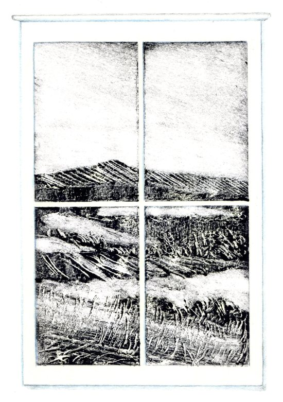 """February Window,"" Carol Crump Bryner, monoprint"