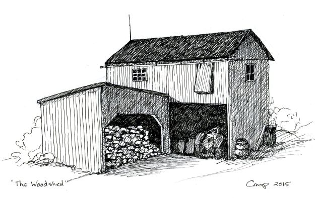"""The Woodshed,"" Carol Crump Bryner, pen and ink, 2015"