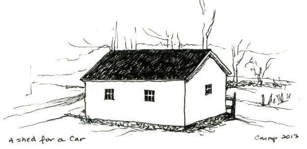 """A Shed for a Car,"" Carol Crump Bryner, pen and ink, 2013"