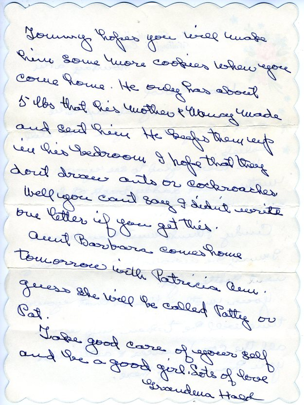 Grandma Hall's letter to me at Silver Lake Camp, back page, summer 1958