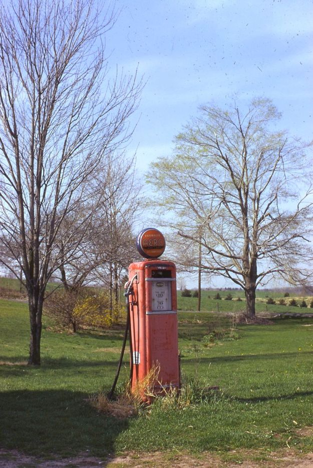 The old gas pump on the farm in 1972.