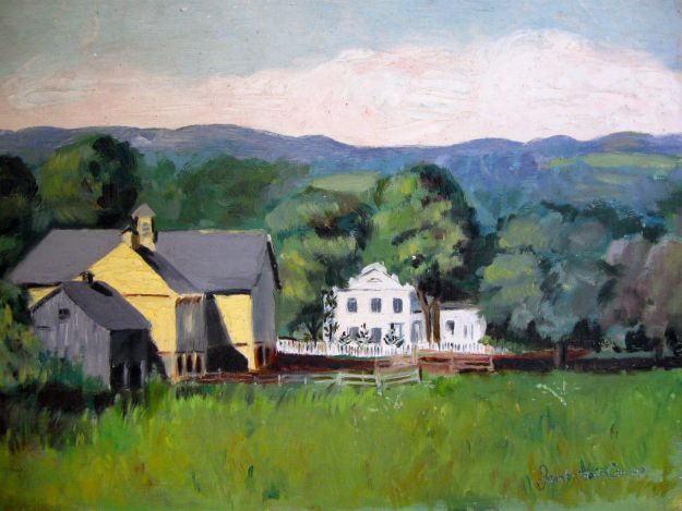 """The Hall Farm,"" Janet Hall Crump, oil on canvas board, around 1960, after a painting by Mary E. Hart"