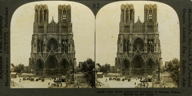 """The World Renowned Cathedral of Reims, France, Ruined by the Huns"""