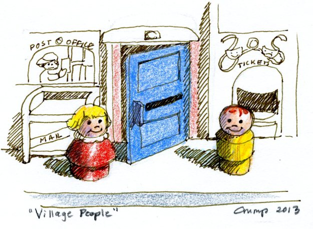 """Village People,"" Carol Crump Bryner, pen and colored pencil, 2013"