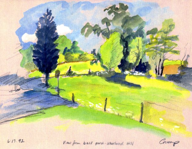 """View from the back yard - Whirlwind Hill,"" Carol Crump Bryner, gouache and pencil, 1992"