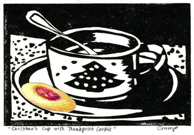 """Christmas Cup with Thumbprint Cookie,"" Carol Crump Bryner, woodcut and collaged drawing"