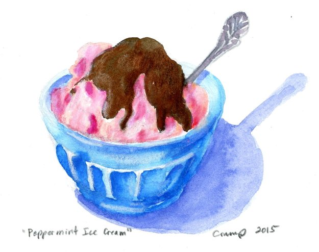 """Peppermint Ice Cream,"" Carol Crump Bryner, gouache, 2015"