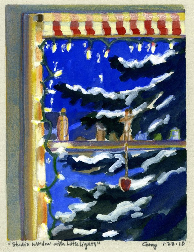 """Studio Window with Little Lights,"" Carol Crump Bryner, gouache and colored pencil, 2010"