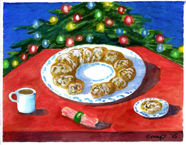 """Swedish Tea Log,"" Carol Crump Bryner, gouache and colored pencil, 2015"