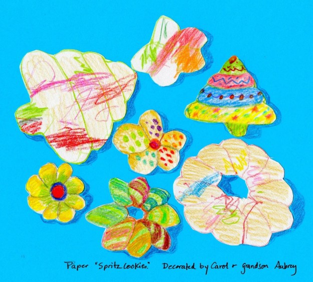 Paper Spritz cookies decorated by Carol and grandson Aubrey
