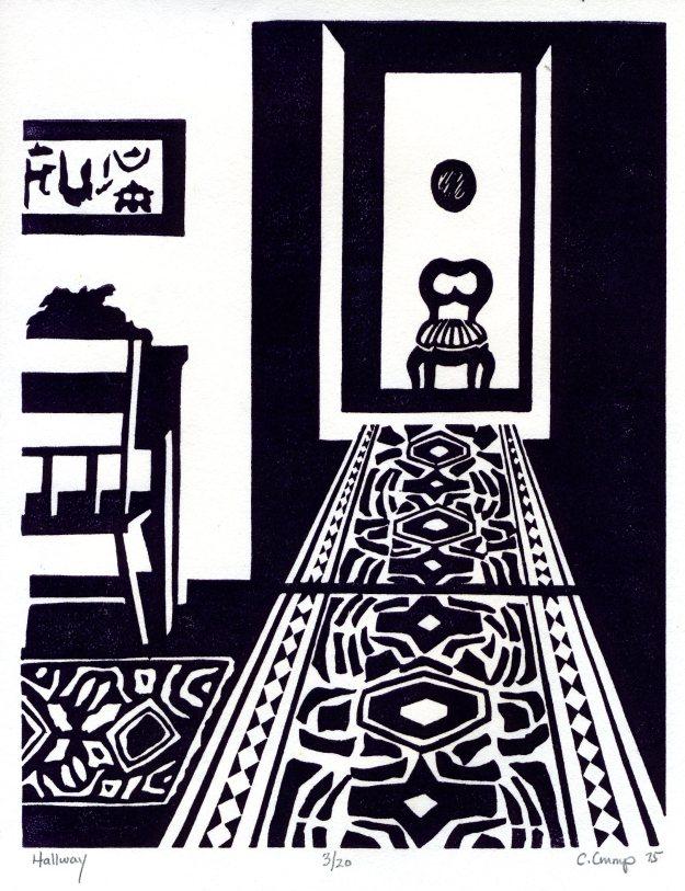 """Hallway,"" Carol Crump Bryner, linocut print, 1975"