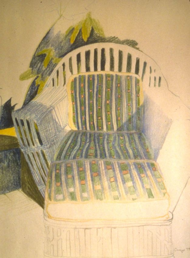 """California Chair,"" Carol Crump Bryner, colored pencil, 1979"