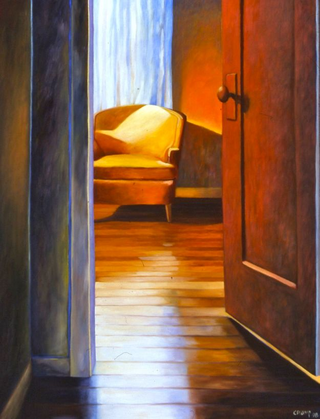 """Mara's Orange Room,"" Carol Crump Bryner, oil on canvas, 38"" x 30"" 1998"