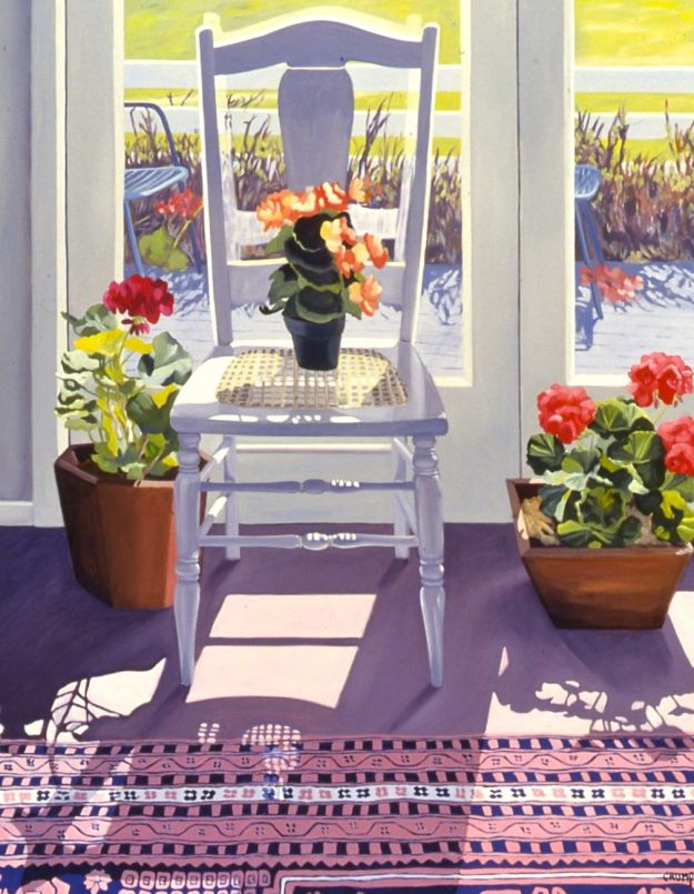 """Chair and Flowers - Spring,"" Carol Crump Bryner, oil on canvas, 40"" x 32"" 1992"