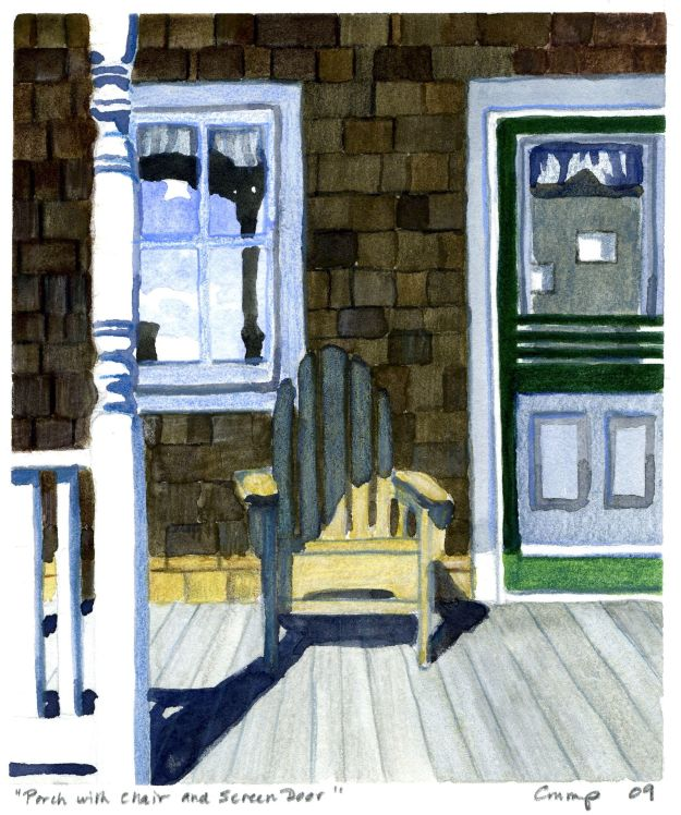 """Porch Chair and Screen Door,"" Carol Crump Bryner, gouache, 2009"
