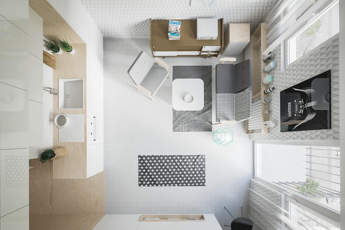 Interni Extra Small luce e spazio in un monolocale di 20 mq  Casait