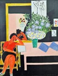 Henri Matisse, Donna seduta che legge, con il gomito sinistro poggiato al tavolo.