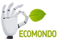 Il logo di Ecomondo. Mano robotica che tiene tra pollice e indice una tenera foglia verde. Scritta Ecomondo.