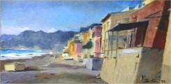 Quadro di Gianluca Stucchi raffigurante case sulla spiaggia e mareggiata