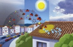 immagine disegnata di case ed agenti inquinanti che rimbalzano sul tetto