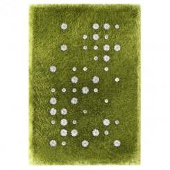 tappeto in poliestere verde che simula un prato, con erba e margherite in rilievo