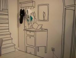 una parete con disegnato un mobile, uno specchio, un attaccapanni con dei veri cappelli appesi