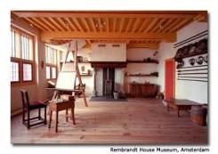 Una foto dello studio di Rembrant, con il cavalletto e tutti gli strumenti per dipingere