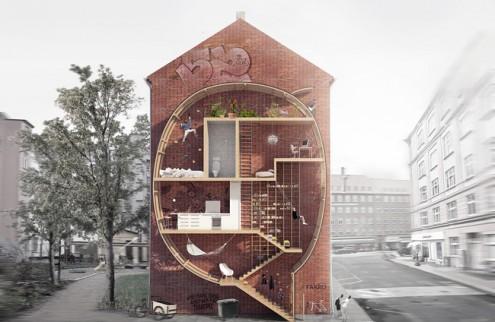 """Ricostruzione virtuale di """"Live between buildings!"""", progetto di un appartamento a  forma di fumetto/ nuvola"""