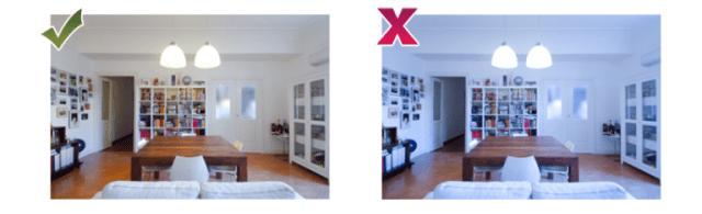 consigli per fotografare casa: fotografie di un salone con bilanciamento del bianco regolato e non regolato