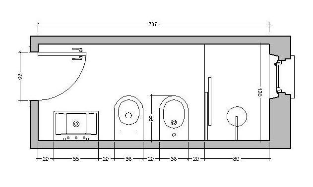 ristrutturare bagno da 120 cm: lavabo in posizione laterale