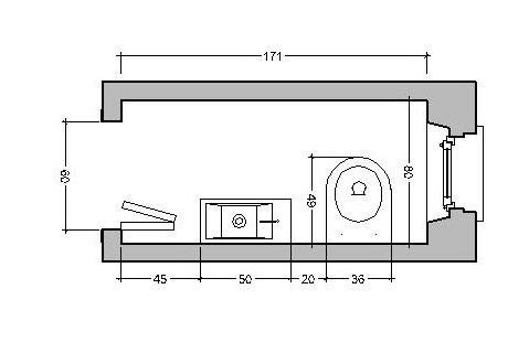 ristrutturare bagno da 80 cm: apertura porta a libretto