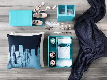 Scatole organizer multiuso Ikea varie dimensioni, colore turchese