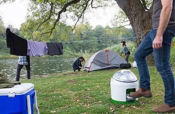 funzionamento in campeggio della lavatrice portatile a pedale ecologica Drumi