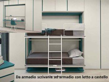 far diventare una stanza più grande armadio con scrivania che diventa letto a castello