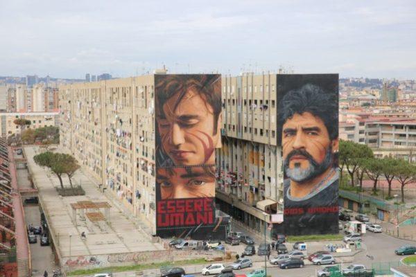 Murales di Jorit a Napoli: lo scugnizzo e Diego Armando Maradona