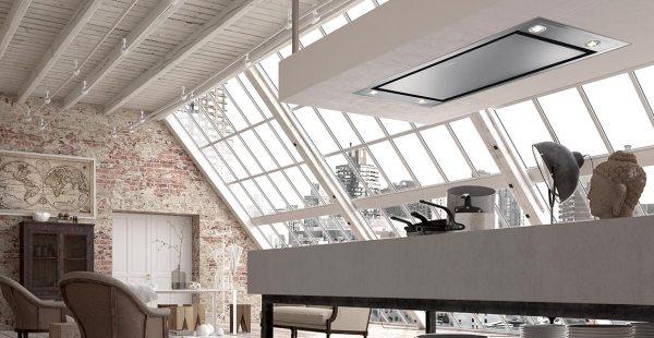 cappa da cucina a soffitto da incasso di design, modello Heaven flat 2.0 di Faber
