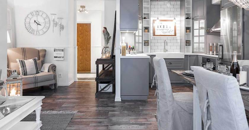 Optiamo per un soggiorno in stile classico chic: Soggiorno Con Cucina A Vista Blog Casaomnia