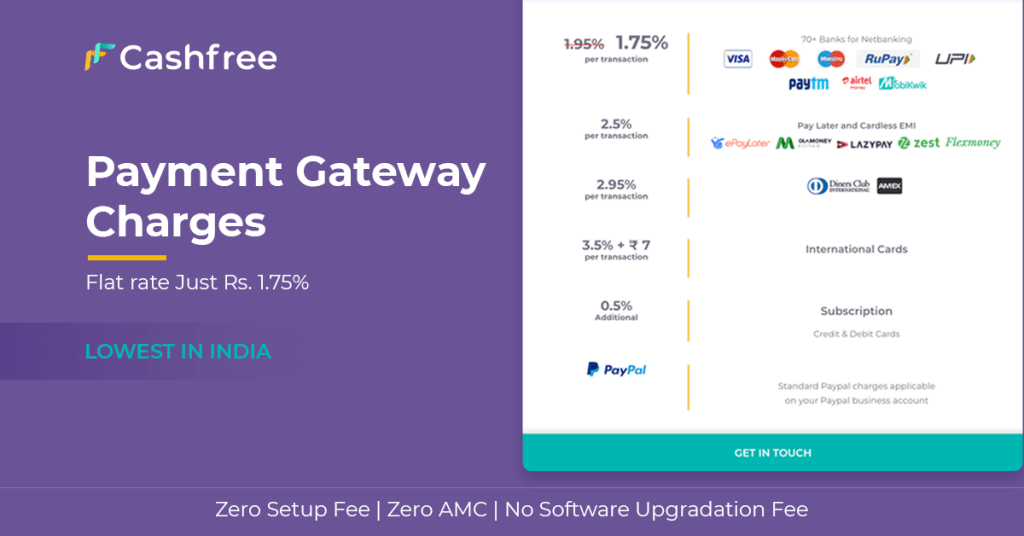 Payment gateway charges page.
