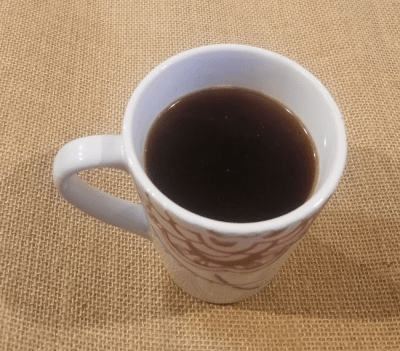 Black coffee is homogeneous and low entropy.