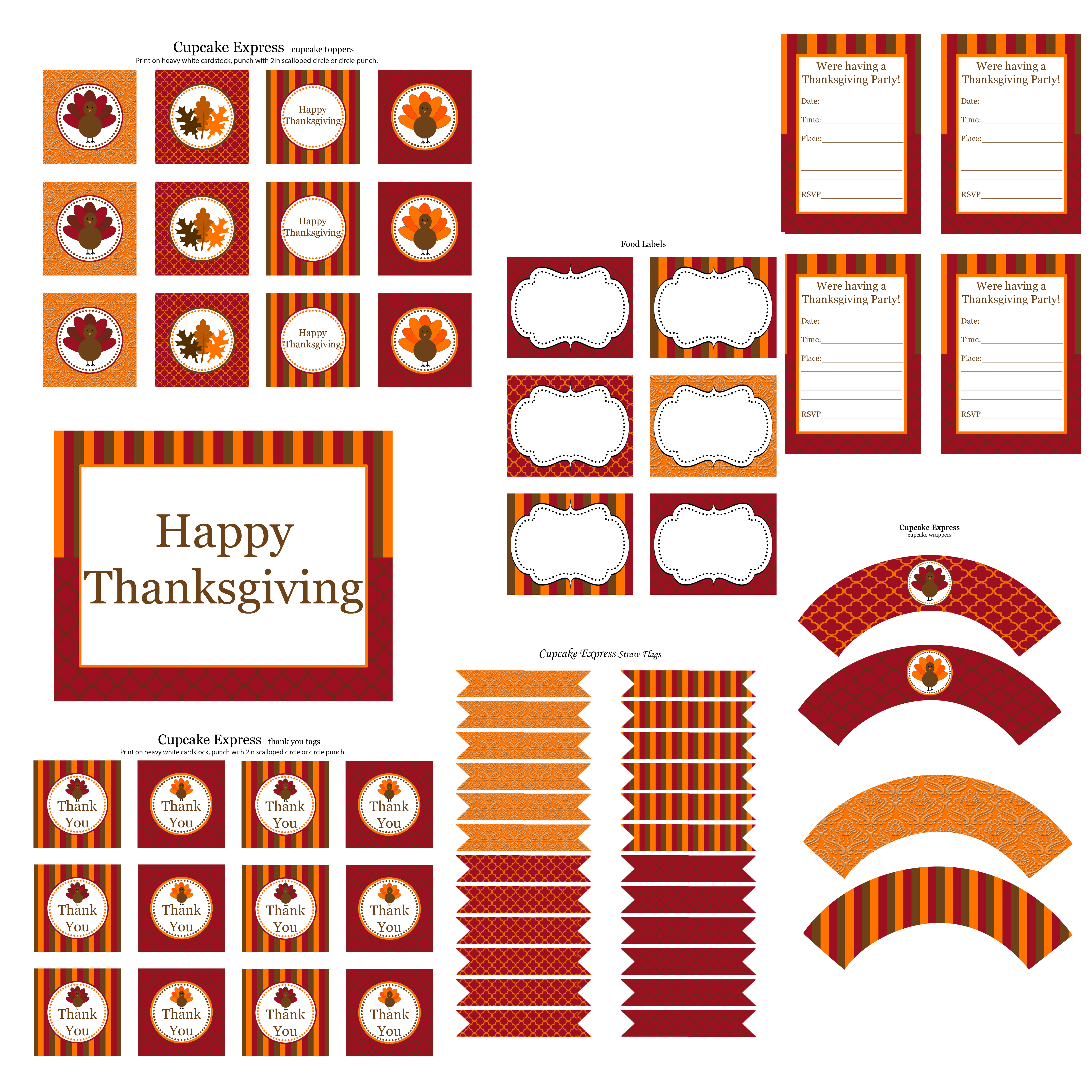 Free Thanksgiving Party Printables From Cupcake Express
