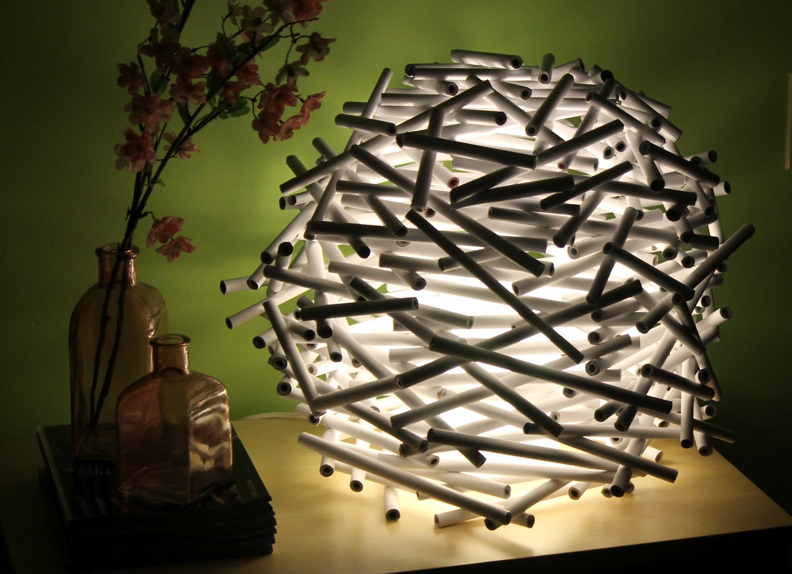 {DIY} How To Make A Bird's Nest Lamp Shade Out of