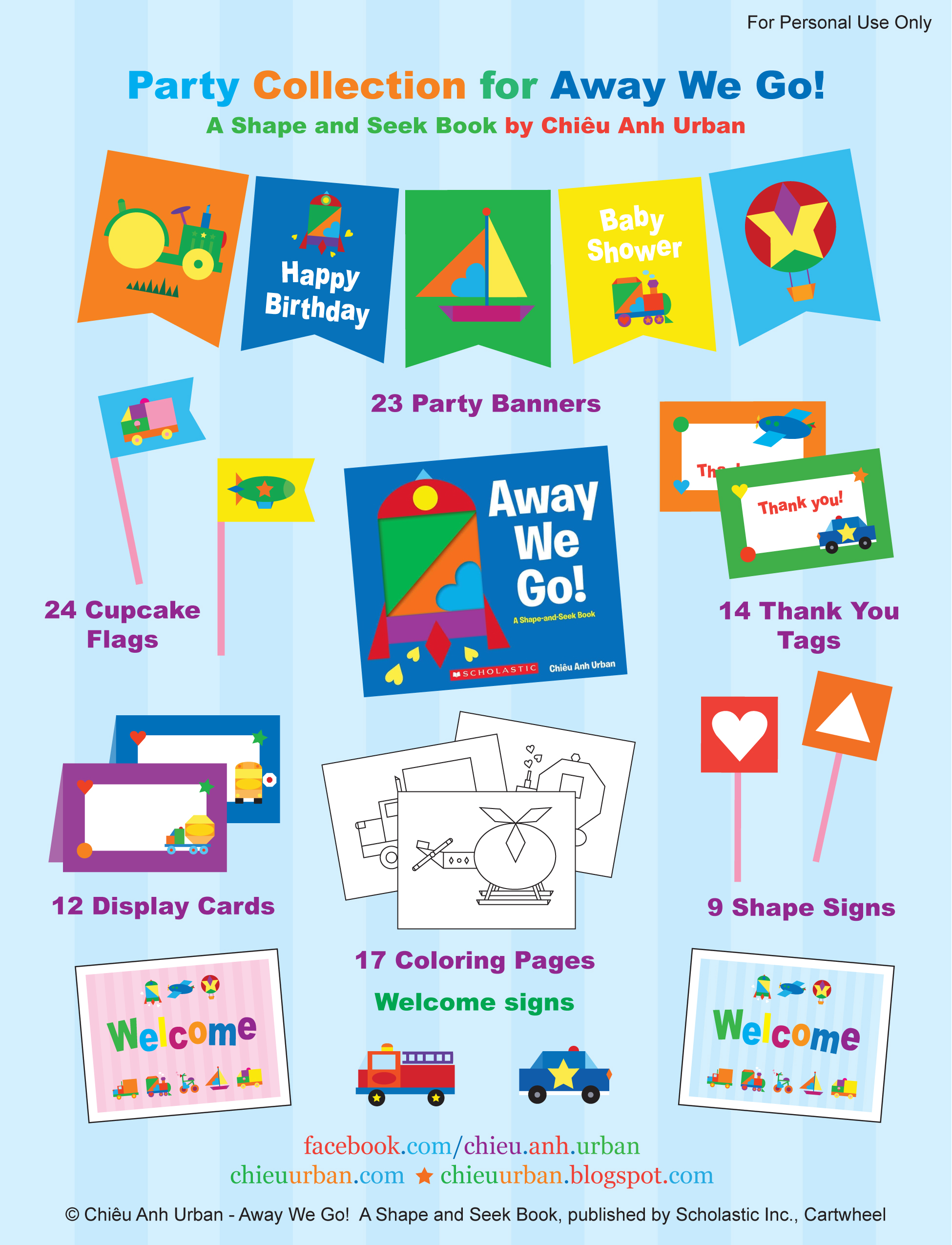 Away We Go Transportation Party Printables Coloring