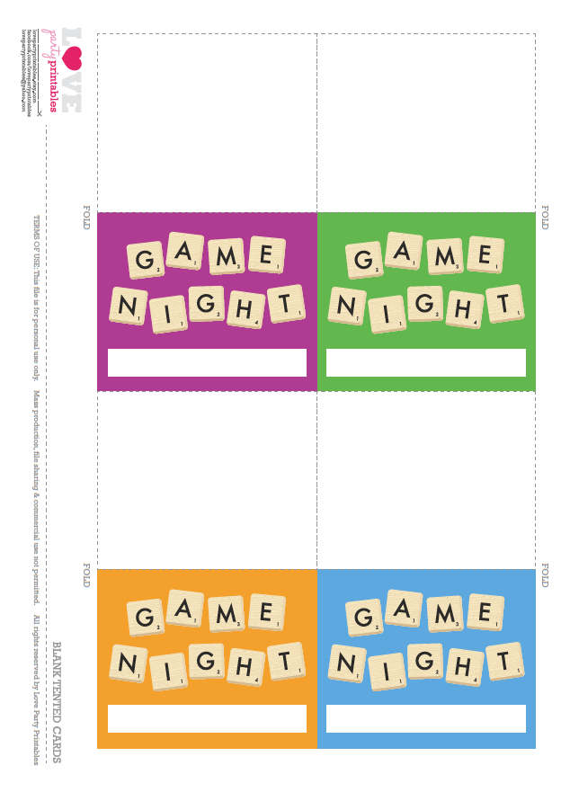 Free Game Night Party Printables Catch My Party