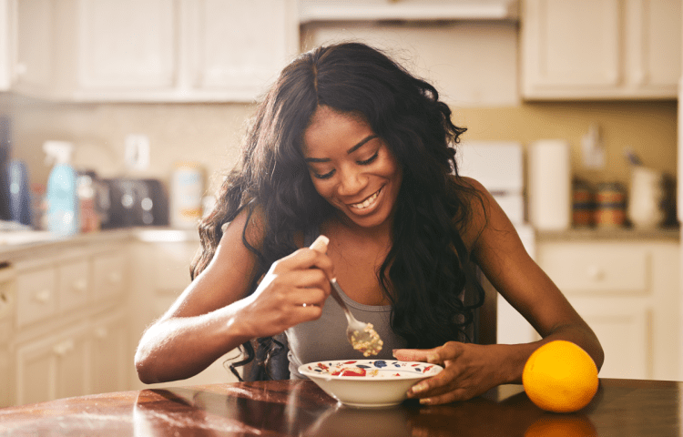 Woman enjoying oatmeal
